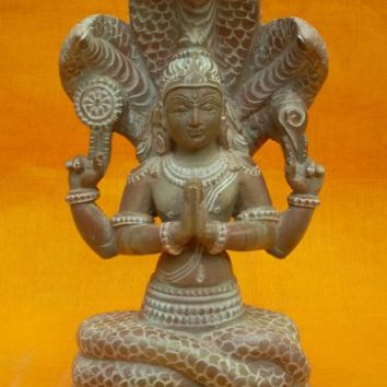 Yoga Guru- Maharishi Patanjali Idol Pink Stone Sculpture with 3 Headed Serpent 6.2 Inch | Mogul Interior
