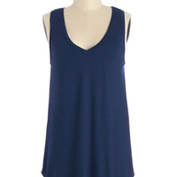 ModCloth Minimal Long Sleeveless Endless Possibilities Tunic in Navy
