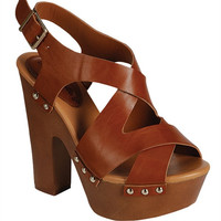 Brown Strappy Platform Sandal