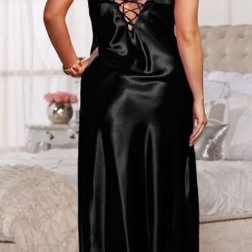 Plus Size Satin Gown
