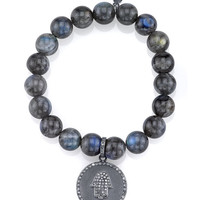 Sheryl Lowe Beaded Labradorite Bracelet with Diamond Hamsa Charm