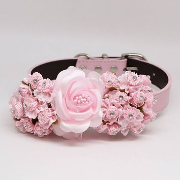 Soft Pink Floral Handmade dog collar, Rhinestone, Wedding pet accessory, Dog of Honor