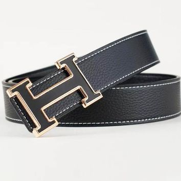 Hermes Fashion New Letter Buckle Leisure Leather Belt Men Black