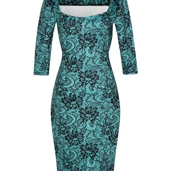 Women Dress Elegant Floral Print Work Business Casual Party Summer Sheath Vestidos 094-8