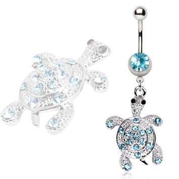 316L Surgical Steel Aqua Gem Turtle Navel Ring