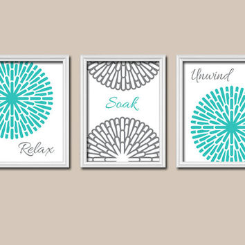 Turquoise Gray Shower Curtain Bathroom Wall Art Canvas Artwork Relax Soak Unwind Dahlia Flower Sun Burst Set of 3 Prints Decor Match Three