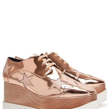 Stella McCartney Elyse rose gold star flatforms