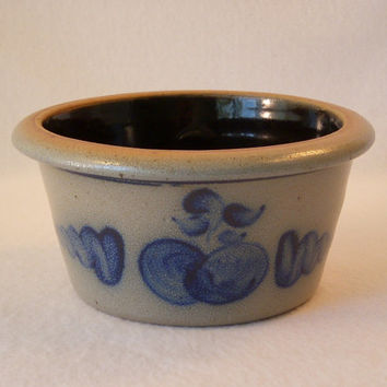 Vintage Rowe Pottery Works Salt Glaze Stoneware, Vegetable Pottery Serving Bowl, Apple Pattern