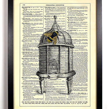 Queen Bee On Her Royal Throne Beehive Dictionary Book Print Book Art Upcycled Vintage Book Print Antique Dictionary Buy 2 Get 1 FREE