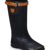 Black Crocodile Wet Stone Rain Boot