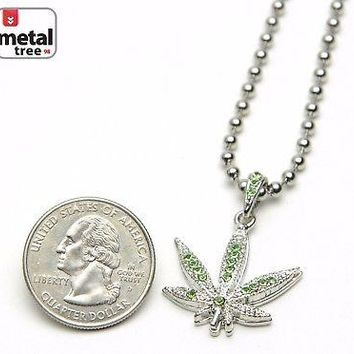 "Jewelry Kay style Men's Fashion Iced Out Weed Marijuana Pendant 20"" Ball Chain Necklace MMP824 SGR"