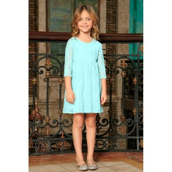 Blue Mint Lace Empire Waist Cute Party Long Sleeve Flower Girl Dress
