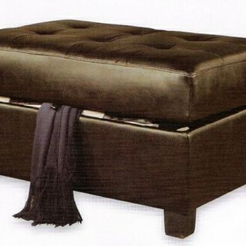 A.M.B. Furniture & Design :: Living room furniture :: Ottomans & Footstools :: Espresso bonded leather match storage ottoman foot stool with tufted top