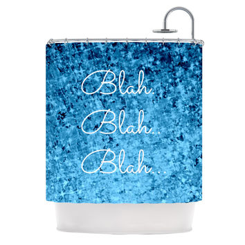 "Ebi Emporium ""Blah Blah Blah""  Blue Glitter Shower Curtain"