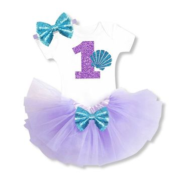 Toddler Baby Girl Sets 1 Year Tutu Infant Clothing Set Little Girl First Birthday Jumpsuit Outfits Baby NewBorn Christening Gift