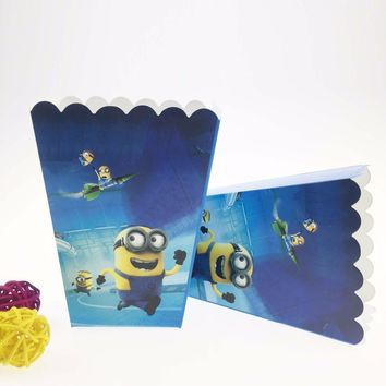 6 Pcs/lot Despicable Me Minions Party Supplies Popcorn Box Case Gift Box Party Favor Accessory Birthday Party Supplies