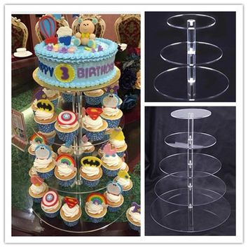 Urijk Hot Assemble and Disassemble Cake Holder Round Acrylic 3/5 Tier Cupcake Cake Stand Decorating Birthday Tools Party Stands