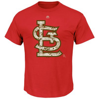 St. Louis Cardinals Majestic USMC Digital Camo Logo T-Shirt - Red