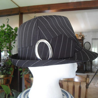 Black Pinstriped Fedora Hat with Silver Buckle Vintage Mens Womens Dress Hat