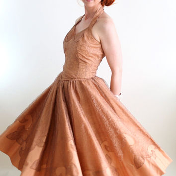 Vintage 1950s Nude Brown Lace Formal Dress. Prom Dress. Party Dress. Audrey Hepburn. Wedding Bridesmaid. Size Medium