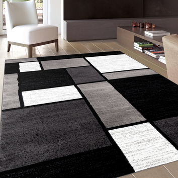 Contemporary Modern Boxes Grey Area Rug From Overstock Future