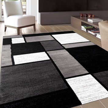 Contemporary Modern Boxes Grey Area Rug (7'10 x 10'2) | Overstock.com Shopping - The Best Deals on 7x9 - 10x14 Rugs