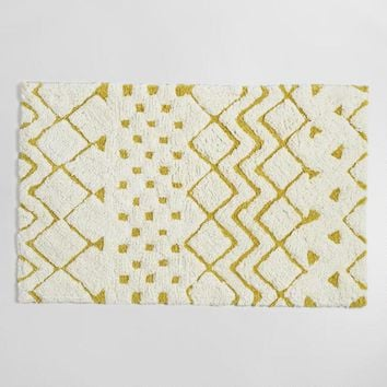 Cress Green and Ivory Geometric Tribal Tufted Bath Mat