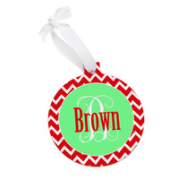 Monogrammed Red Chevron Christmas Tree Ornament - Personalized Red Chevron Green Pink