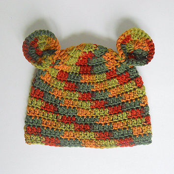 Camouflage Baby Hat With Ears  Boy Camo Cap 6 To 12 Month  Infant Girl Fall Beanie Earthtone Brown Green  Orange Children Winter Clothing