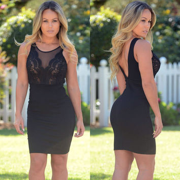 Black Sleeveless Lace Mesh Mini Dress