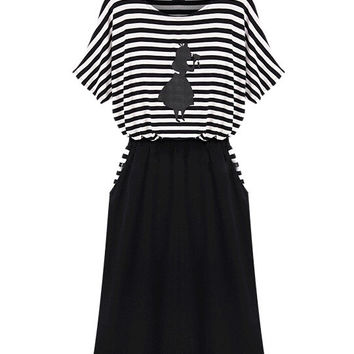 Black Striped Short Sleeve Shirtwaist Blouson Mini Dress