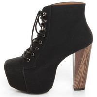 Promise Magi Black Denim Lace-Up Platform Ankle Boots - $53.00