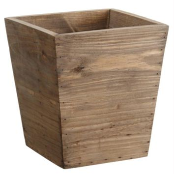 "8.75"" Country Rustic Natural Wood Storage Bin Container"