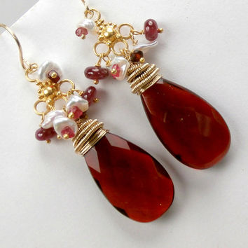 Red Earrings Long Drop Gold Chandelier Wire Wrap Gemstones Handmade