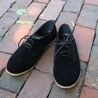 """Eugenia"" Suede Lace Up Oxfords - Black from H.C.B. - Products tagged with flats, shoeswomen, accessories"