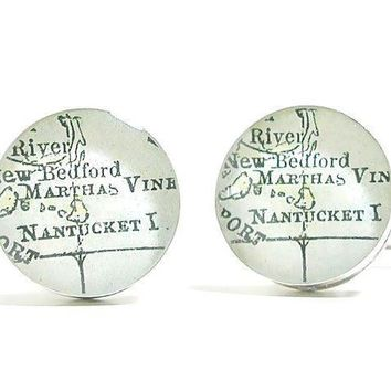 Nantucket Antique Map Cufflinks