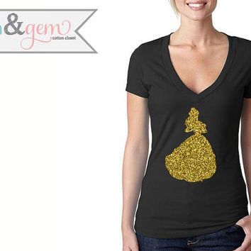 Beauty and the Beast Glittery Silhouette Shirt // Disney's Belle Shirt Silhouette // Disney Princess Shirt // Disney Classic Movie Shirts