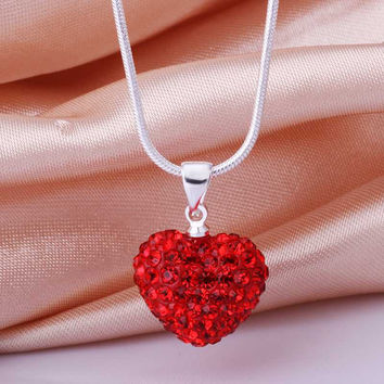 Free Shipping New Arrival acessorios para mulher collar necklace red crystal love collier femme jewerly accessories SBN028