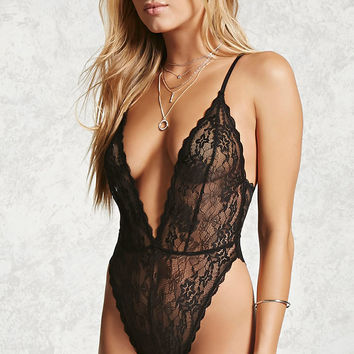 Semi-Sheer Lace Teddy