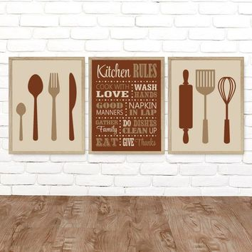 KITCHEN Rules Wall Art Canvas or Prints Kitchen Rules Dining Room Decor, Utensils Spoon Fork Roller Wisk Wall Decor, Set of 3 Pictures