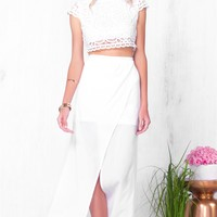 Indie XO Beach Please White Lace Two Piece Maxi Skirt Lace Crochet Crop Top - Just Ours!