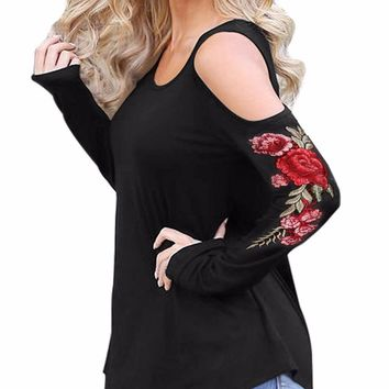Rose Embroidered Shirt Long Sleeve Open Shoulder Blouse