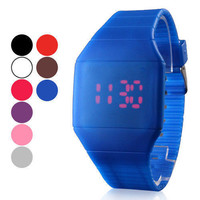 Rubber LED Light Up Digital Sport Wrist Watch Kids Men Women Boy Girl Assort Col