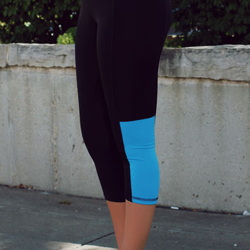 Too Fit to Quit Workout Capri's - Blue