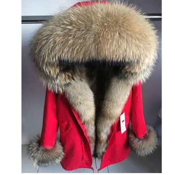 2018 Women's Fashion Big Real Fox Collar Cuff Coat Natural Raccoon Fur Lining Winter Thick Warm Parkas Jacket Long Hooded Coats