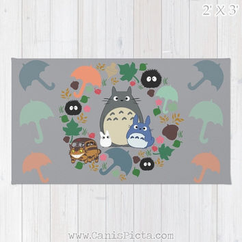 Totoro Kawaii My Neighbor RUG Home Decor Accent Decorative Kid Gift For Her Grey Anime Manga Troll Hayao Miyazaki Studio Ghibli Catbus Cute