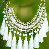Flyaway White Tassel Statement Necklace