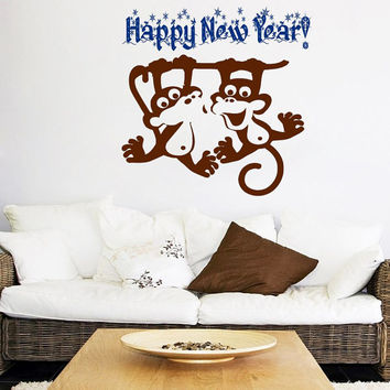 Happy New Year Wall Decal Monkey Stickers Merry Christmas Vinyl Decals Living Room Decor Design Interior Nursery Room Bedding Art Mural KI41