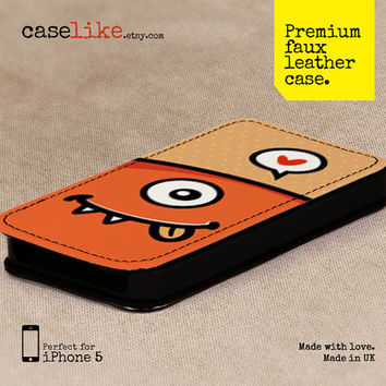 Premium Faux Leather iPhone 5 Case - Orange Lovely Monster iPhone Case - for iPhone 5 / iPhone 4s / iPhone 4