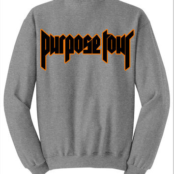 "Justin Bieber ""Staff / Purpose The World Tour 2016 / Black & Orange Purpose Tour"" Gray Crewneck Sweatshirt"